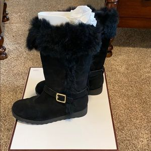 Coach Deeann leather and fur trim boot